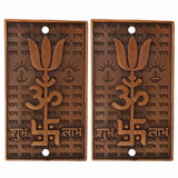 Divya Mantra Trishul Om Swastika Trishakti Yantra with Shubh Labh Spiritual Metal Wall Hanging Showpiece Ornament/Hindu Religious Trisakthi Vastu Pooja Item Collectible - Home Decor Gift Set Of 2 - Divya Mantra