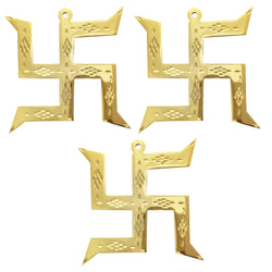 Divya Mantra Hindu Lucky Auspicious Symbol Swastika Pure Brass Wall Hanging For Vastu, Good Luck and Prosperity - Home Decor Gift Set Of 3
