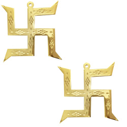 Divya Mantra Hindu Lucky Auspicious Symbol Swastika Pure Brass Wall Hanging For Vastu, Good Luck and Prosperity - Home Decor Gift Set Of 2