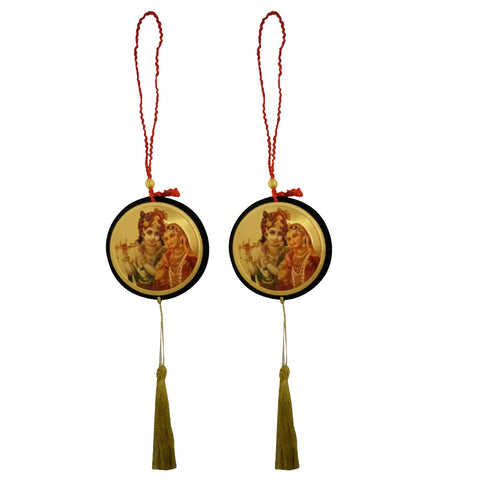 Divya Mantra Shri Radha Krishna Talisman Gift Pendant Amulet for Car Rear View Mirror Decor Ornament Accessories/Good Luck Charm Protection Interior Wall Hanging Showpiece - Combo Set of 2 - Divya Mantra