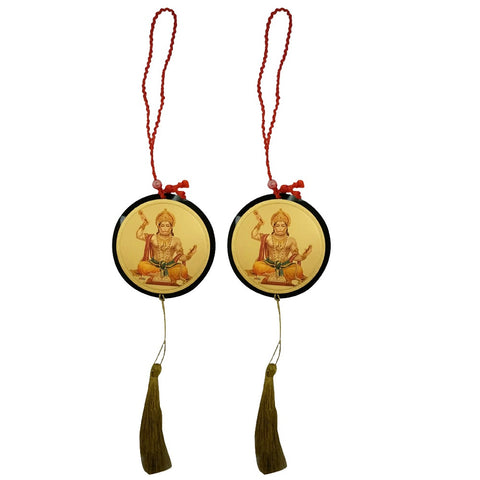 Divya Mantra Sri Bajrang Bali Hanuman Talisman Gift Pendant Amulet for Car Rear View Mirror Decor Ornament Accessories/Good Luck Charm Protection Interior Wall Hanging Showpiece - Combo Set of 2 - Divya Mantra
