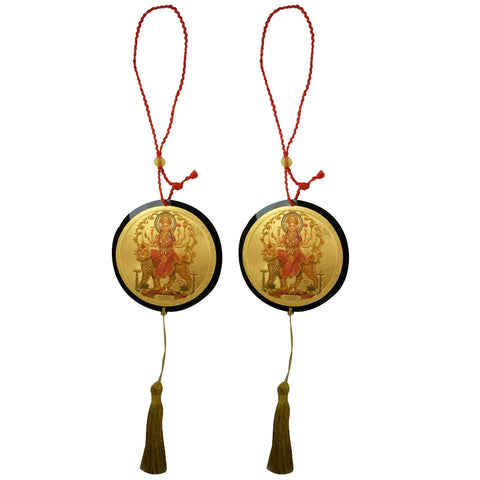Divya Mantra Sri Durga Maa Talisman Gift Pendant Amulet for Car Rear View Mirror Decor Ornament Accessories/Good Luck Charm Protection Interior Wall Hanging Showpiece - Combo Set of 2