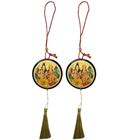 Divya Mantra Sri Shiv Parivar Talisman Gift Pendant Amulet for Car Rear View Mirror Decor Ornament Accessories/Good Luck Charm Protection Interior Wall Hanging Showpiece - Combo Set of 2 - Divya Mantra