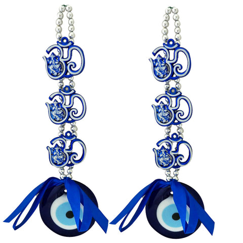 Divya Mantra Decorative Evil Eye Triple Om Ganesha Pendant Amulet for Car Rear View Mirror Decor Ornament Accessories/Good Luck Charm Protection Interior Wall Hanging Showpiece Blue - Combo Set of 2 - Divya Mantra