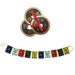 "Divya Mantra Combo Of Feng Shui Three Lucky Chinese 2"" Coins with Red Ribbon for Money, Wealth & Tibetan Buddhist Om Mani Padme Hum Positive Vibes Prayer Flags for Car/Motorbike - 3 Feet Multicolor - Divya Mantra"