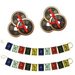 "Divya Mantra Combo Of 2 Feng Shui Three Lucky Chinese 2"" Coins with Red Ribbon for Money, Wealth & 2 Tibetan Buddhist Om Mani Padme Hum Positive Vibes Prayer Flags for Car/Motorbike -3 Feet Multicolor - Divya Mantra"