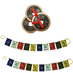 "Divya Mantra Combo Of Feng Shui Three Lucky Chinese 2"" Coins with Red Ribbon for Money, Wealth & 2 Tibetan Buddhist Om Mani Padme Hum Positive Vibes Prayer Flags for Car/Motorbike -3 Feet Multicolor - Divya Mantra"