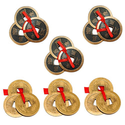 "Divya Mantra Combo Of Three-3 Tibetan Lucky Feng Shui I-Ching Chinese 2"" & 1"" Metal Coins with Red Ribbon Wealth Magnet Amulet-Money, Home, Decoration, Office, Wallet, Purse, Fortune, Business Showpiece - Divya Mantra"