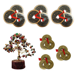 "Divya Mantra Combo Of Three-3 Tibetan Lucky Feng Shui Chinese 2"" & 1"" Metal Coins; Multicolor Crystal Bonsai Fortune Tree Wealth Magnet-Money, Home, Office, Vastu, Business Table Decor Gift Item Set - Divya Mantra"