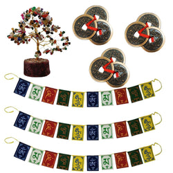 "Divya Mantra Combo Of Three-3 Tibetan Lucky Feng Shui Chinese 2"" Metal Coins; Multicolor Crystal Bonsai Fortune Tree; 3 Tibetan Buddhist Om Mani Padme Hum Positive Vibes Prayer Flags for Car/Motorbike - Divya Mantra"