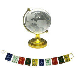 Divya Mantra Feng Shui Crystal Globe for Success Office Table Decoration /Home /Education /Vastu and Tibetan Buddhist Om Mani Padme Hum Positive Vibes Prayer Flags for Car/Motorbike-3 Feet Multicolor
