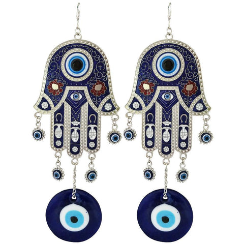 Divya Mantra Feng Shui Turkish Hamsa Hand Buri Nazar Battu Evil Eye Decor Car Rear View Mirror Gift Accessories/Good Luck Charm Protection Interior Home/Office/Door/Wall Hanging Showpiece – Set of 2 - Divya Mantra