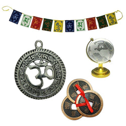 "Divya Mantra Combo of 3 Lucky Chinese 2"" Coins with Red Ribbon / Hindu Symbol Sri Om Gayatri Pendant / Crystal Globe for Success / Tibetan Buddhist 3 Feet Prayer Flags for Car/Motorbike - Multicolor - Divya Mantra"
