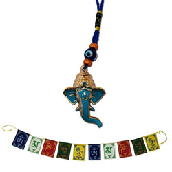 Divya Mantra Combo Of Hindu God Ganesha Evil Eye For Car Rear View Mirror Hanging Interior Decor And Tibetan Buddhist Om Mani Padme Hum Positive Vibes Prayer Flags for Car/Motorbike -3 Feet Multicolor - Divya Mantra