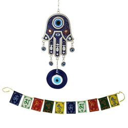 Divya Mantra Combo of Turkish Hamsa Hand Evil Eye Pendant Amulet Wall Hanging Buri Nazar Battu & Tibetan Buddhist Om Mani Padme Hum Positive Vibes Prayer Flags for Car / Motorbike - 3 Feet Multicolor - Divya Mantra