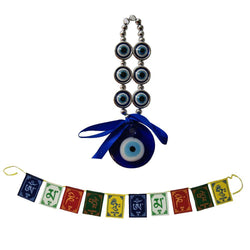 Divya Mantra Combo of Glass Evil Eye Wall Hanging Buri Nazar Battu Surksha Kawach & Tibetan Buddhist Om Mani Padme Hum Positive Vibes Prayer Flags for Car/Bike/Vehicle/ Good Luck - 3 Feet Multicolour - Divya Mantra