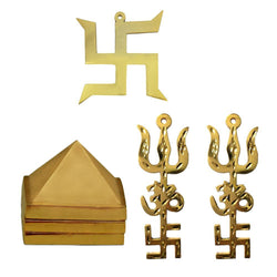 "Divya Mantra Combo of Vastu Wish Multilayered 1"" Zinc Pyramid, Hindu Lucky Symbol Swastika in Pure Brass & Set of 2: Trishul Om Swastika Trishakti Yantra Wall Hanging Showpiece - Golden - Divya Mantra"