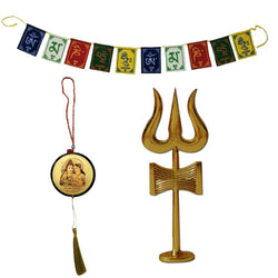 Divya Mantra Combo Of Traditional Trishul (Trident) Damru with Stand Brass Statue, Tibetan Buddhist Om Mani Padme Hum Positive Vibes Prayer Flags & Sri Shiva Parivar Car Rear View Mirror Hanging Set - Divya Mantra