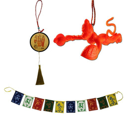 Divya Mantra Combo Of Tibetan Buddhist Om Mani Padme Hum Positive Vibes Prayer Flags; Sri Hindu Ram Sita Laxman Hanuman Talisman Amulet/ Orange Flying Hanuman Car Rear View Mirror Hanging Gift Pack