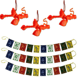 Divya Mantra Set Of 3 Sri Bajrang Bali Orange Flying Hanuman Talisman Gift Pendant Amulet for Car Rear View Mirror Hanging  & Set of 3 Tibetan Buddhist Om Mani Padme Hum Positive Vibes Prayer Flags