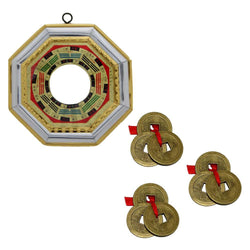 Divya Mantra Combo of 3 Sets of Three Lucky Chinese Coins Red Ribbon - Money Good Luck & Feng Shui Bagua/Pakua /Pa Kwa Convex Mirror Wall/Door Hanging-Good Luck, Money, Home, Office Decor Item/Product - Divya Mantra