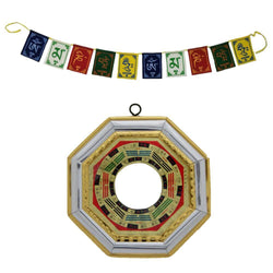 Divya Mantra Combo of Tibetan Buddhist Om Mani Padme Hum Positive Vibes Prayer Flags & Feng Shui Bagua/Pakua /Pa Kwa Convex Mirror Wall/Door Hanging - Good Luck, Money, Home, Office Decor Item/Product - Divya Mantra