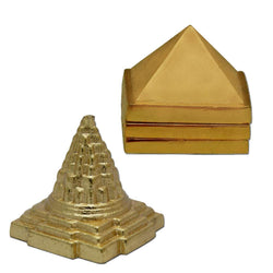 "Divya  Mantra Sri Meru Prastha Shree Yantra & Vastu Wish Multilayered 1"" Zinc Pyramid -Temple/ Decor / Decoration /Home / Puja Room / Vasthu Shastra Remedy / Ornament / Hindu Religious Combo Gift Set - Divya Mantra"