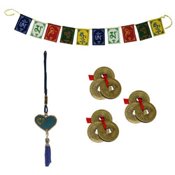 "Divya Mantra 3 Three Lucky Chinese 1""Coins with Red Ribbon - Money Wealth Luck; Tibetan Buddhist Om Mani Padme Hum Positive Vibes Prayer Flags & Evil Eye Blue Heart Beat Pendant Amulet for Car - Set"