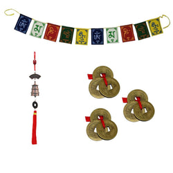 "Divya Mantra 3 Three Lucky Chinese 1""Coins with Red Ribbon - Money Wealth Luck; Tibetan Buddhist Om Mani Padme Hum Positive Vibes Prayer Flags & Car Rear View Mirror Hanging Feng Shui Lucky Bell Set"