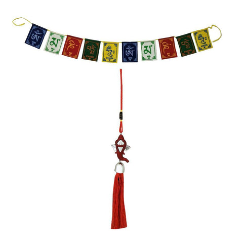 Divya Mantra Car Rear View Mirror Hanging Interior Decor Accessories Hindu God Red Ganesha and Tibetan Buddhist Om Mani Padme Hum Positive Vibes Prayer Flags for Car/Bike - Divya Mantra