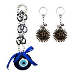 Divya Mantra Nazar Battu Evil Eye with Hindu Symbol Triple Om Rear View Mirror Decor /Good Luck Charm Protection Interior Wall / Door Hanging Showpiece & Set of 2 Keychains for Bike / Car / Home
