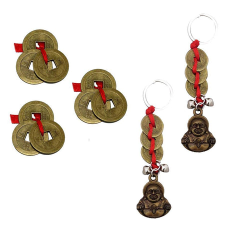 Divya Mantra Feng Shui I-Ching Amulet Antique 3 Chinese Coins for Good Luck / Money and Wealth & Set of 2 Laughing Buddha / Happy Man Keychains for Bike / Car / Home Combo Gift Items / Products Pack - Divya Mantra