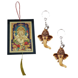 Divya Mantra Sri Hindu God Ganesha / Ganpati Rear View Mirror Decor Ornament Accessories /Good Luck Charm Protection Interior Wall / Door Hanging Showpiece & Set of 2 Keychains for Bike / Car / Home - Divya Mantra