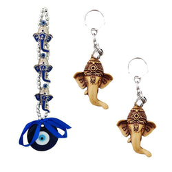 Divya Mantra Nazar Battu Evil Eye Talisman Hindu God Triple Ganesha Rear View Mirror Decor /Good Luck Charm Protection Interior Wall / Door Hanging Showpiece & Set of 2 Keychains for Bike / Car / Home - Divya Mantra