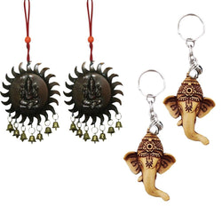 Divya Mantra Sri Hindu God Ganesha Rear View Mirror Decor Ornament Accessories /Good Luck Charm Protection Interior Wall / Door Vastu Surya Hanging Showpiece & Set of 2 Keychains for Bike / Car / Home