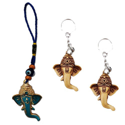 Divya Mantra Nazar Battu Evil Eye Talisman Hindu God Ganesha Rear View Mirror Decor /Good Luck Charm Protection Interior Wall / Door Hanging Showpiece & Gift Set of 2 Keychains for Bike / Car / Home - Divya Mantra
