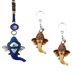 Divya Mantra Nazar Battu Evil Eye Amulet Hindu God Ganesha Rear View Mirror Decor /Good Luck Charm Protection Interior Wall / Door Hanging Showpiece & Gift Set of 2 Keychains for Bike / Car / Home - Divya Mantra
