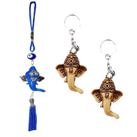 Divya Mantra Nazar Battu Evil Eye Talisman Hindu God Ganesha Rear View Mirror Decor /Good Luck Charm Protection Interior Wall / Door Hanging Showpiece & Gift Set of 2 Keychains for Bike / Car / Home