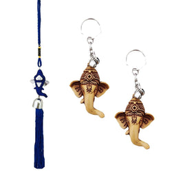 Divya Mantra Car Rear View Mirror Hanging Interior Decor Accessories Hindu God Blue Ganesha Good Luck Charm Interior Wall / Door Hanging Showpiece & Gift Set of 2 Keychains for Bike / Car / Home - Divya Mantra
