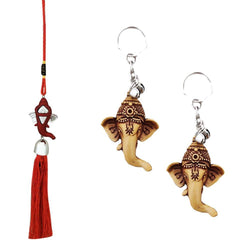 Divya Mantra Car Rear View Mirror Hanging Interior Decor Accessories Hindu God Red Ganesha Good Luck Charm Interior Wall / Door Hanging Showpiece & Gift Set of 2 Keychains for Bike / Car / Home - Divya Mantra