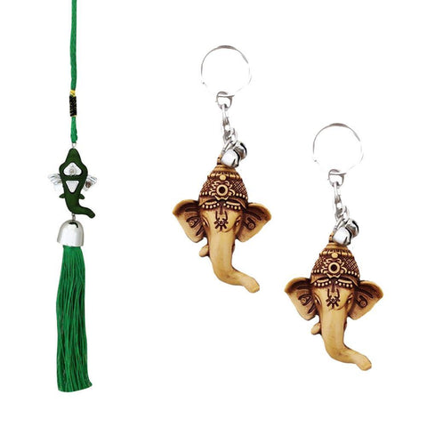 Divya Mantra Car Rear View Mirror Hanging Interior Decor Accessories Hindu God Green Ganesha Good Luck Charm Interior Wall / Door Hanging Showpiece & Gift Set of 2 Keychains for Bike / Car / Home - Divya Mantra
