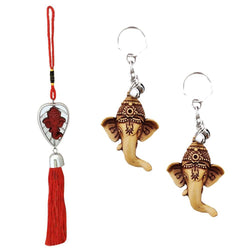 Divya Mantra Car Rear View Mirror Hanging Interior Decor Accessories Hindu God Red Patta Ganesha Good Luck Charm Interior Wall / Door Hanging Showpiece & Gift Set of 2 Keychains for Bike / Car / Home - Divya Mantra