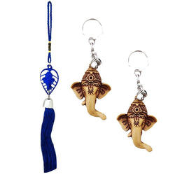 Divya Mantra Car Rear View Mirror Hanging Interior Decor Accessories Hindu God Blue Patta Ganesha Good Luck Charm Interior Wall / Door Hanging Showpiece & Gift Set of 2 Keychains for Bike / Car / Home - Divya Mantra