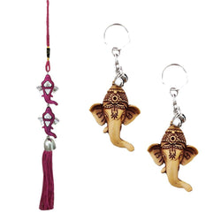Divya Mantra Car Rear View Mirror Hanging Interior Decor Accessories Hindu God Double Ganesha Good Luck Charm Interior Wall / Door Hanging Showpiece & Gift Set of 2 Keychains for Bike / Car / Home - Divya Mantra