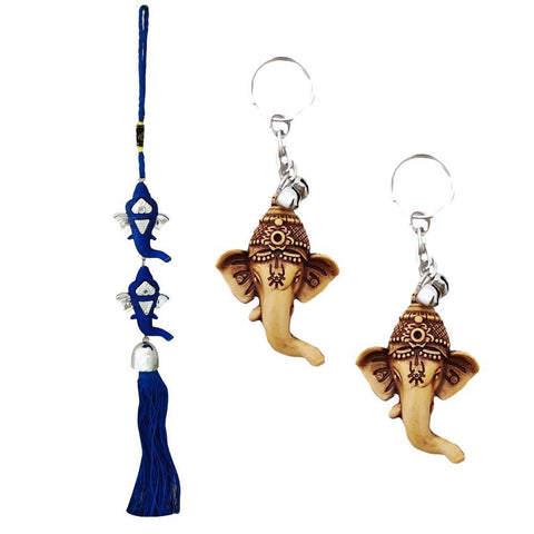 Divya Mantra Car Rear View Mirror Hanging Interior Decor Accessories Hindu God Blue Double Ganesha Good Luck Charm Interior Wall / Door Hanging Showpiece & Gift Set of 2 Keychains for Bike /Car / Home - Divya Mantra