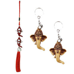 Divya Mantra Car Rear View Mirror Hanging Interior Decor Accessories Hindu God Red Double Ganesha Good Luck Charm Interior Wall / Door Hanging Showpiece & Gift Set of 2 Keychains for Bike /Car / Home - Divya Mantra