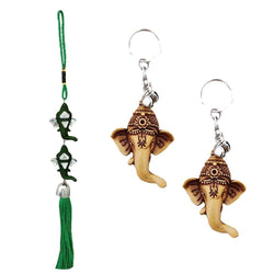 Divya Mantra Car Rear View Mirror Hanging Interior Decor Accessories Hindu God Green Double Ganesha Good Luck Charm Interior Wall / Door Hanging Showpiece & Gift Set of 2 Keychains for Bike /Car/Home - Divya Mantra