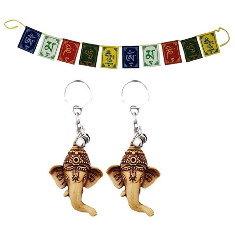 Divya Mantra Tibetan Buddhist Positive Vibes 3 Feet Prayer Flags & Set of 2 Hindu God Ganesha Wealth Money Good Luck Keychains for Bike / Car / Home Combo Gift Items /Products Pack - Divya Mantra