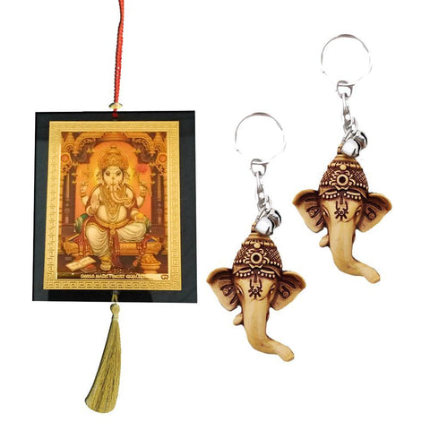 Divya Mantra Car Rear View Mirror Hanging Interior Decor Accessories Hindu God Shubh Labh Ganesha Good Luck Charm Interior Wall / Door Hanging Showpiece & Gift Set of 2 Keychains for Bike /Car / Home - Divya Mantra
