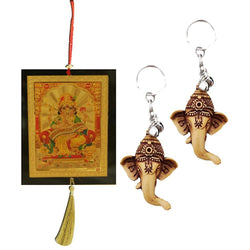 Divya Mantra Car Rear View Mirror Hanging Interior Decor Accessories Hindu God Vastu Ganesha Good Luck Charm Interior Wall / Door Hanging Showpiece & Gift Set of 2 Keychains for Bike /Car / Home - Divya Mantra